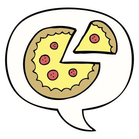 cartoon pizza with speech bubble