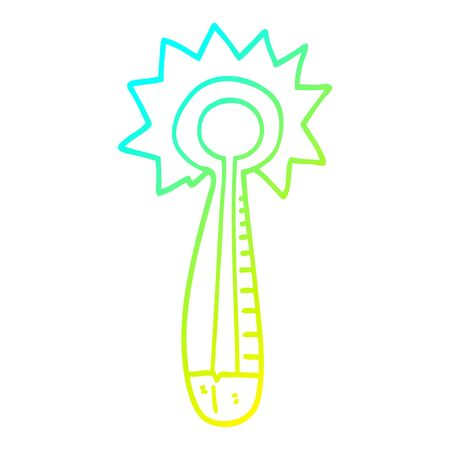 cold gradient line drawing of a cartoon medical thermometer