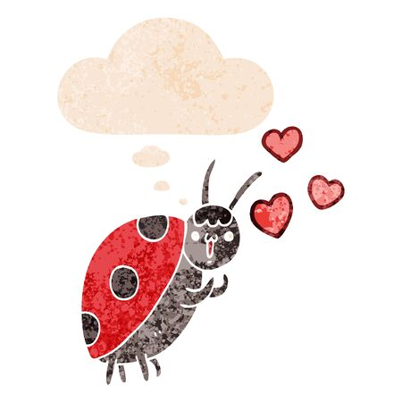cute cartoon ladybug in love with thought bubble in grunge distressed retro textured style Ilustracja