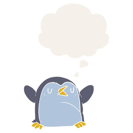 cartoon penguin with thought bubble in retro style