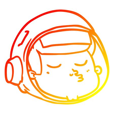 warm gradient line drawing of a cartoon astronaut face Illustration