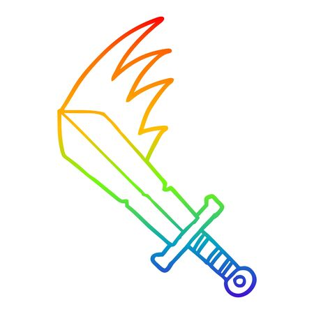rainbow gradient line drawing of a cartoon swinging sword