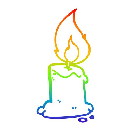 rainbow gradient line drawing of a cartoon candle
