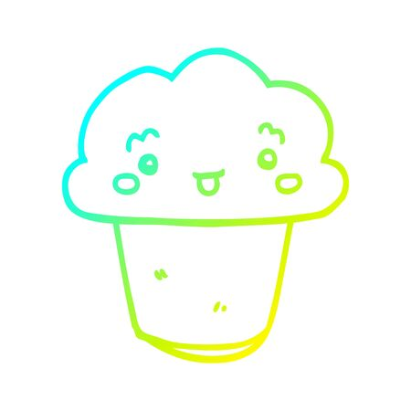 cold gradient line drawing of a cartoon cupcake with face