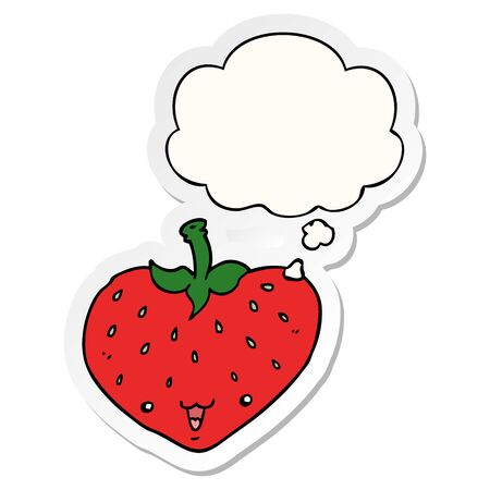 cartoon strawberry with thought bubble as a printed sticker