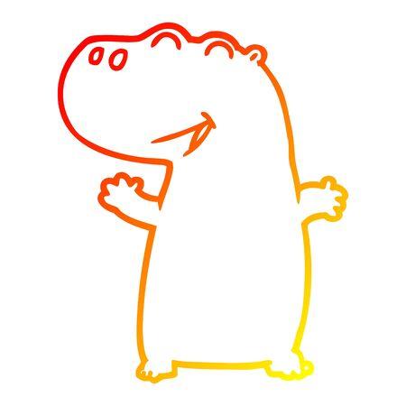 warm gradient line drawing of a cartoon hippopotamus