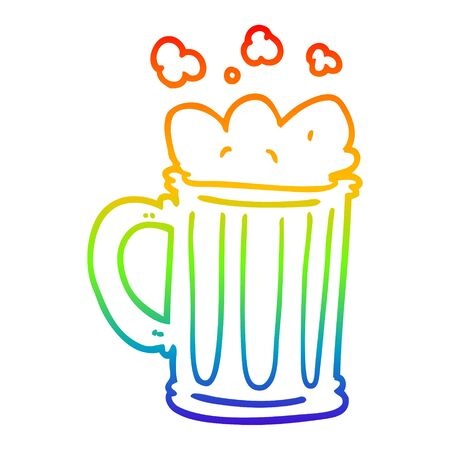 rainbow gradient line drawing of a cartoon pint of beer