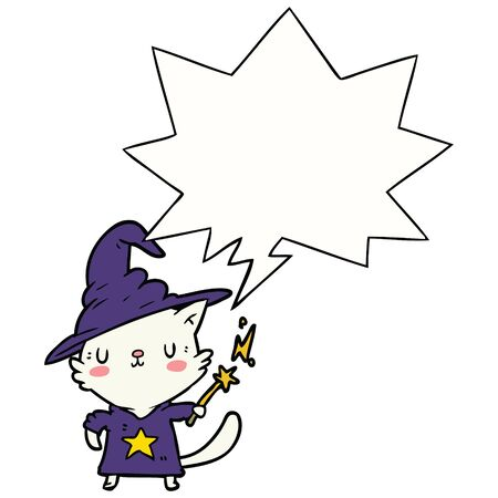 magical amazing cartoon cat wizard with speech bubble