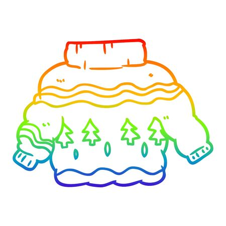 rainbow gradient line drawing of a embarrassing christmas jumper