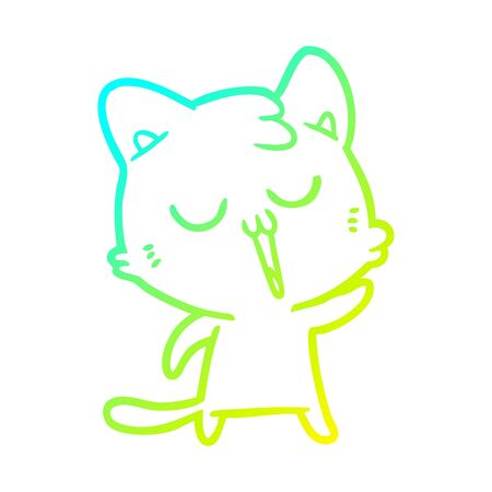 cold gradient line drawing of a cartoon cat singing