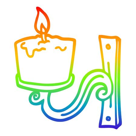 rainbow gradient line drawing of a cartoon old candle holder