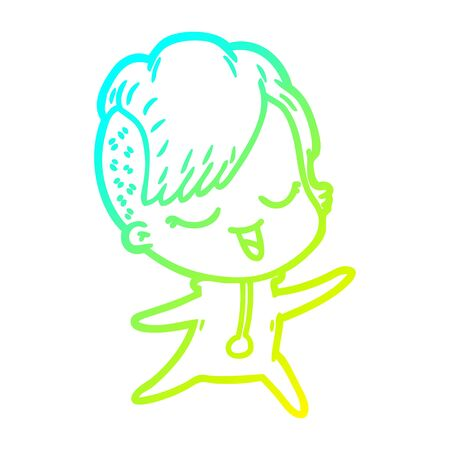 cold gradient line drawing of a happy cartoon girl 일러스트