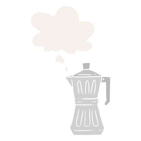 cartoon espresso maker with thought bubble in retro style Çizim