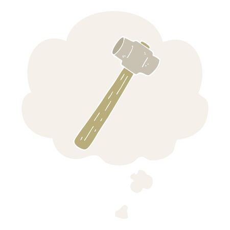 cartoon sledgehammer with thought bubble in retro style
