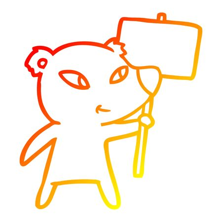 warm gradient line drawing of a cute cartoon polar bear with protest sign