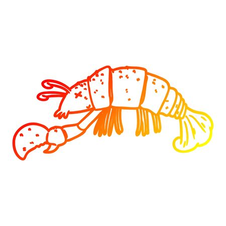 warm gradient line drawing of a cartoon lobster