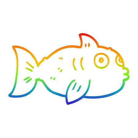 rainbow gradient line drawing of a cartoon fish