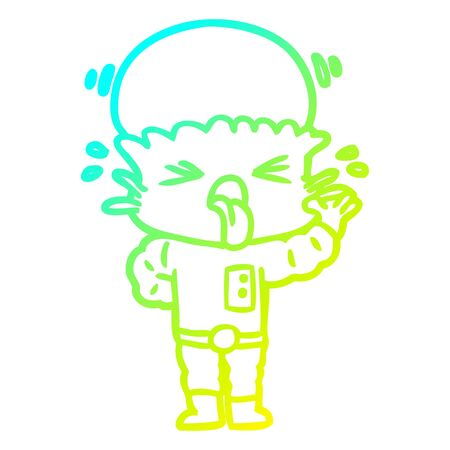 cold gradient line drawing of a disgusted cartoon alien
