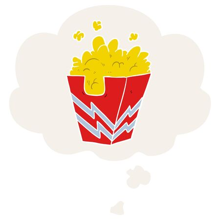 cartoon box of popcorn with thought bubble in retro style