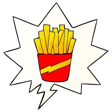 cartoon box of fries with speech bubble in smooth gradient style Illusztráció