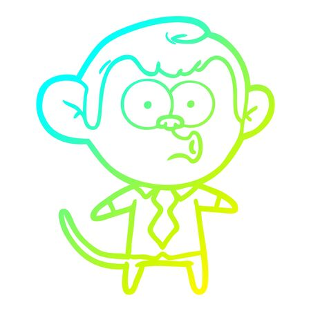 cold gradient line drawing of a cartoon office monkey