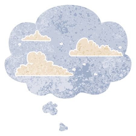 cartoon clouds with thought bubble in grunge distressed retro textured style Ilustração