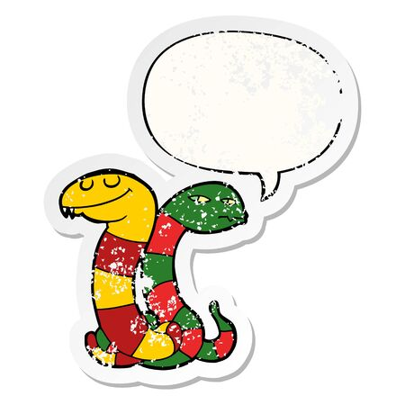 cartoon snakes with speech bubble distressed distressed old sticker Stock Illustratie