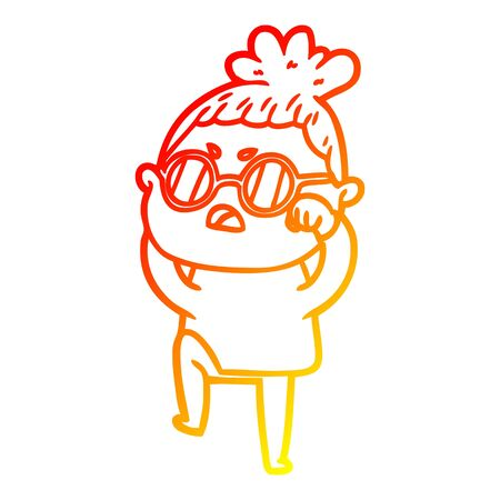 warm gradient line drawing of a cartoon annoyed woman