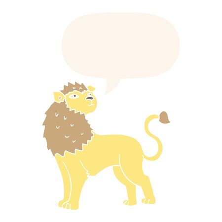 cartoon lion with speech bubble in retro style