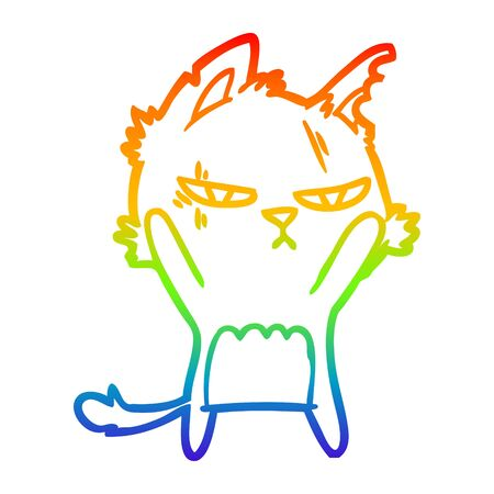 rainbow gradient line drawing of a tough cartoon cat