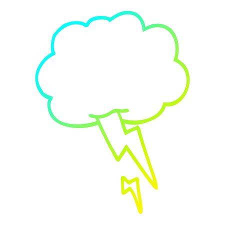 cold gradient line drawing of a cartoon storm cloud with lightning