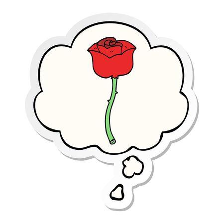 Cartoon Rose mit Gedankenblase als bedruckter Sticker