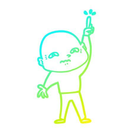 cold gradient line drawing of a nervous cartoon man asking question Reklamní fotografie - 129836439