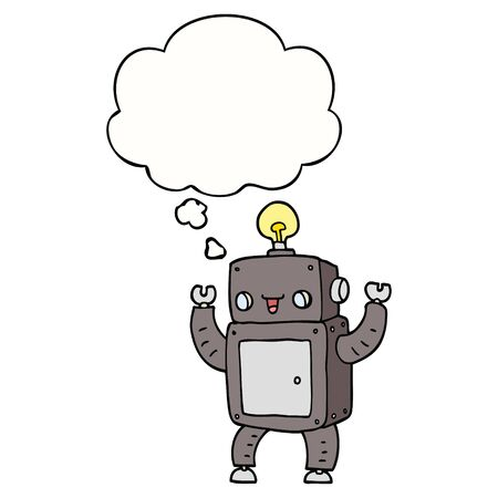 cartoon happy robot with thought bubble