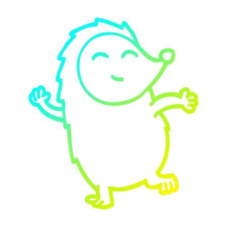 cold gradient line drawing of a cartoon dancing hedgehog