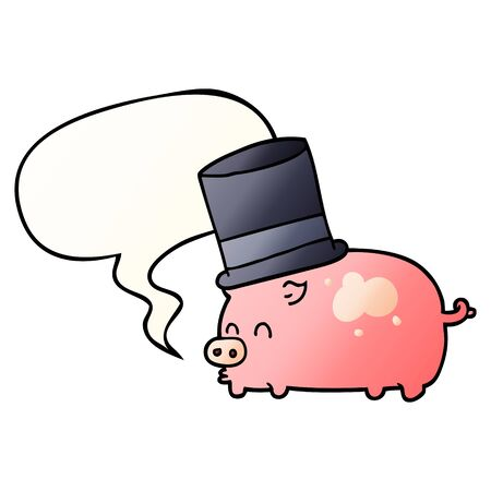 cartoon pig wearing top hat with speech bubble in smooth gradient style 向量圖像