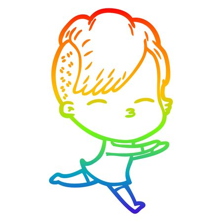 rainbow gradient line drawing of a cartoon squinting girl running