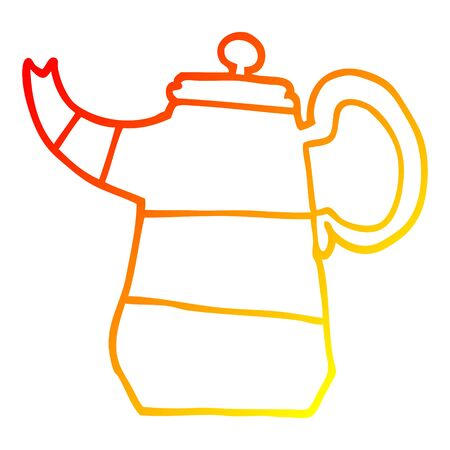 warm gradient line drawing of a cartoon coffee pot 向量圖像