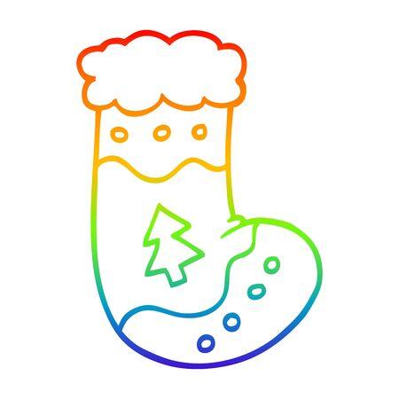rainbow gradient line drawing of a cartoon christmas stockings