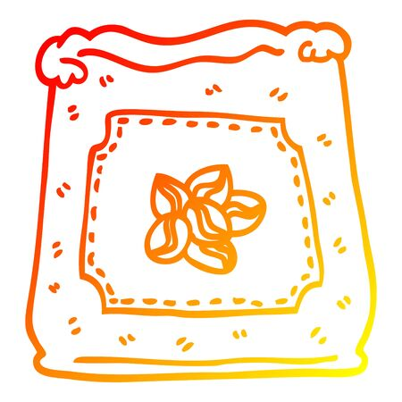 warm gradient line drawing of a cartoon bag of coffee beans