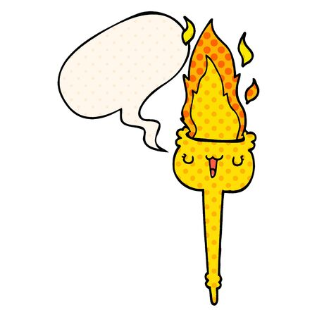 cartoon flaming torch with speech bubble in comic book style