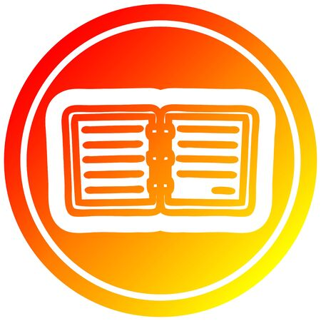 note book circular icon with warm gradient finish Illustration