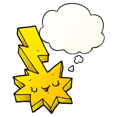 cartoon lightning strike with thought bubble in smooth gradient style Ilustração