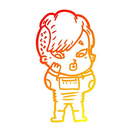 warm gradient line drawing of a cartoon surprised girl in science fiction clothes