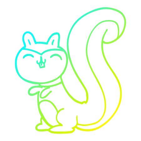 cold gradient line drawing of a cartoon happy squirrel 일러스트