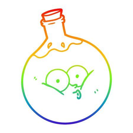 rainbow gradient line drawing of a cartoon potion Stock Illustratie