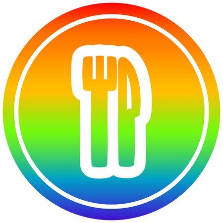 knife and fork circular icon with rainbow gradient finish Illusztráció