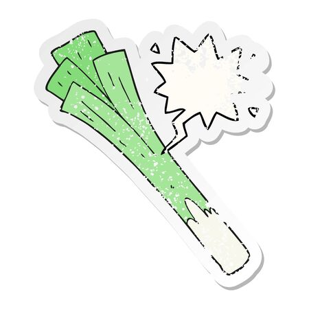 cartoon leeks with speech bubble distressed distressed old sticker