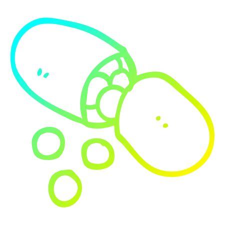 cold gradient line drawing of a cartoon pill Ilustração