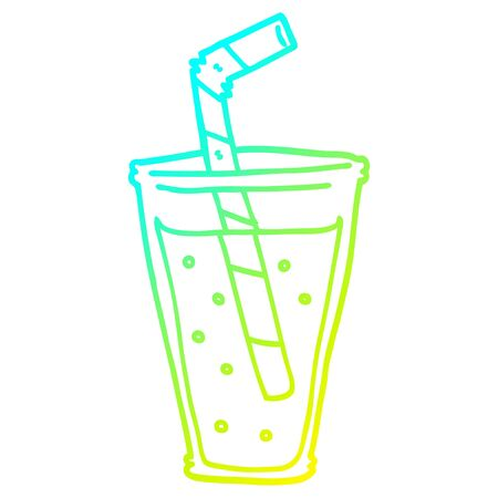 cold gradient line drawing of a cartoon fizzy drink 일러스트